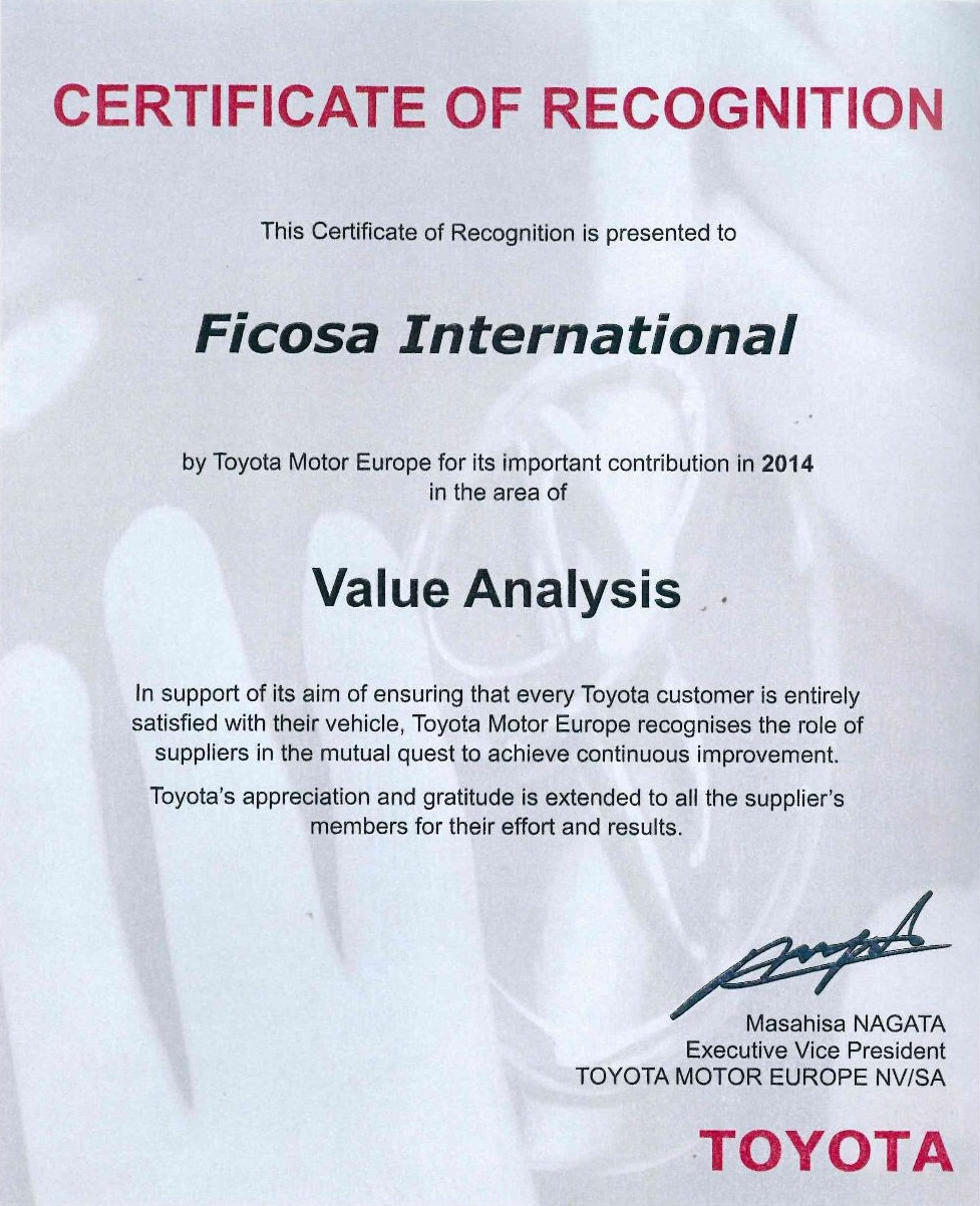 Toyota awards Ficosa manufacturing facilities in Portugal
